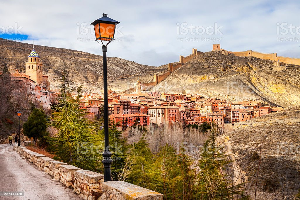 Albarracin  - medieval terracotte village in Aragon, Spain stock photo