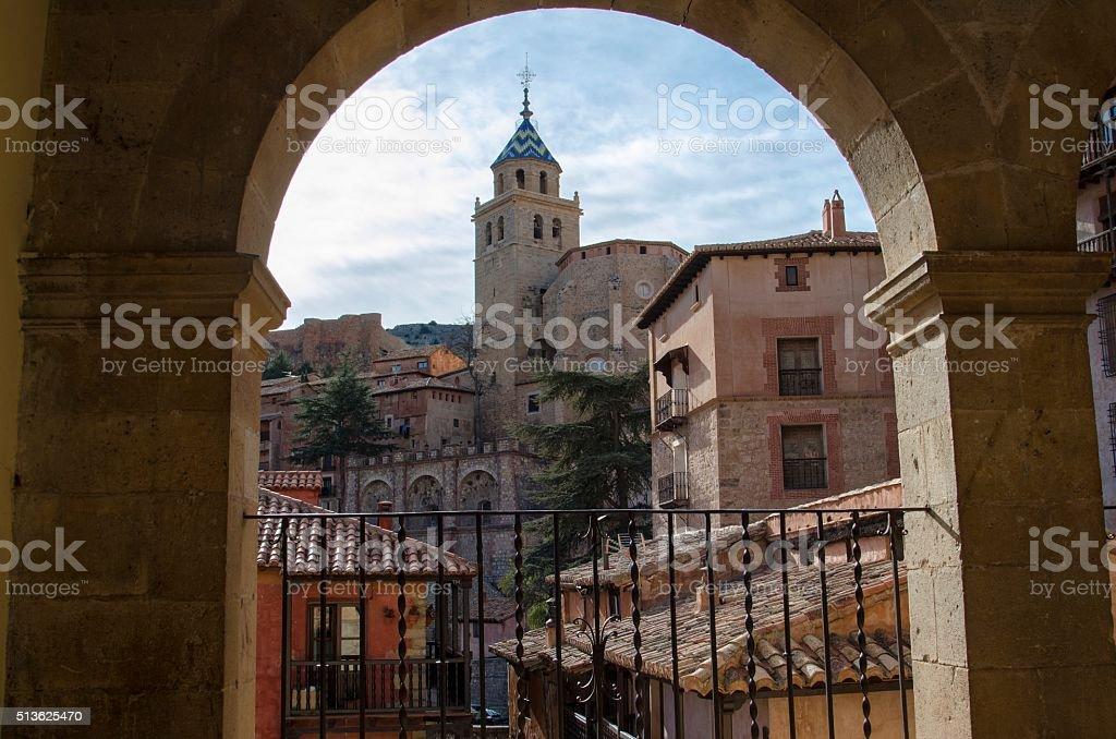 Albarracin, medieval terracotte village in Spain stock photo