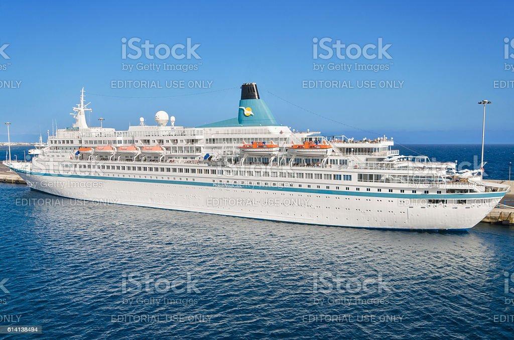 Albatros passanger cruise ship in Lanzarote harbor, Spain. stock photo
