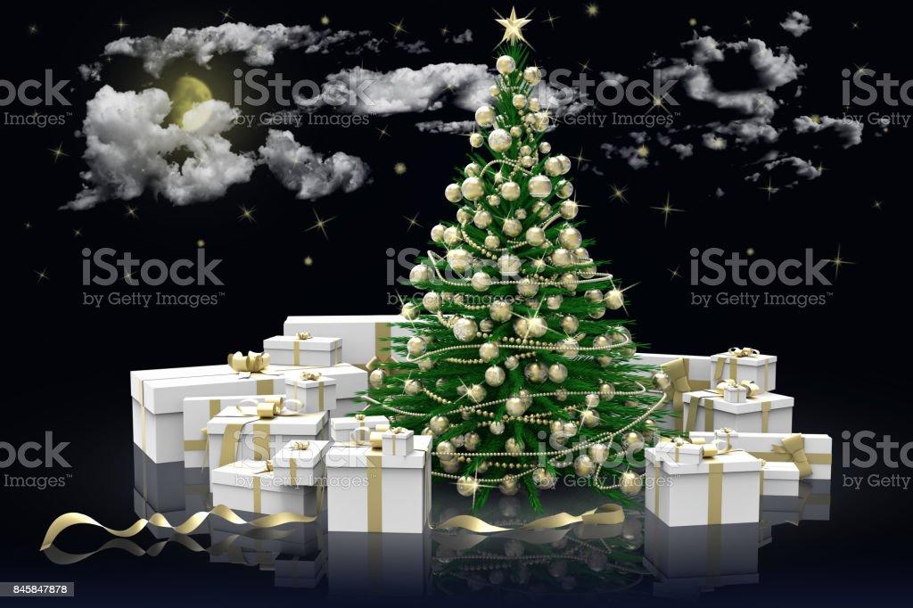 Albero di natale decorato e regali. Cielo stellato.'n stock photo