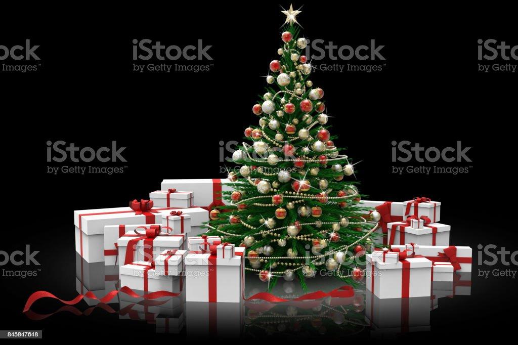 Albero di natale decorato e regali'n stock photo