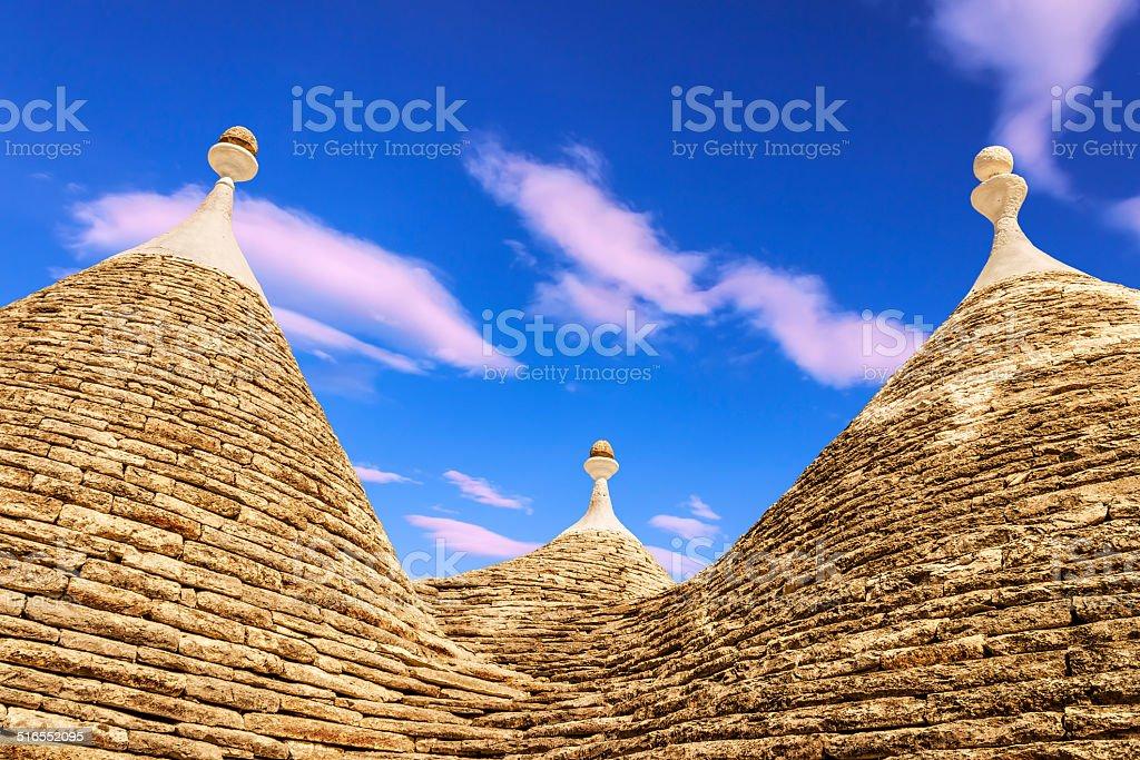 Alberobello: detail of the trullo to dry masonry. -  ITALY- stock photo