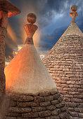 Alberobello: detail of the trullo to dry masonry. ITALY,APULIA.