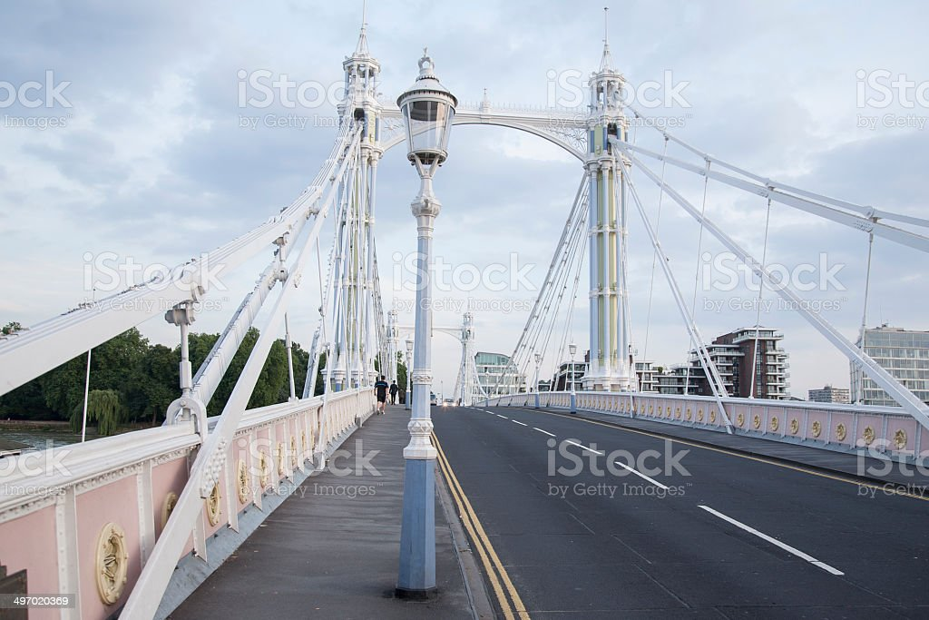 Albert Bridge and Lamppost, Chelsea; London stock photo
