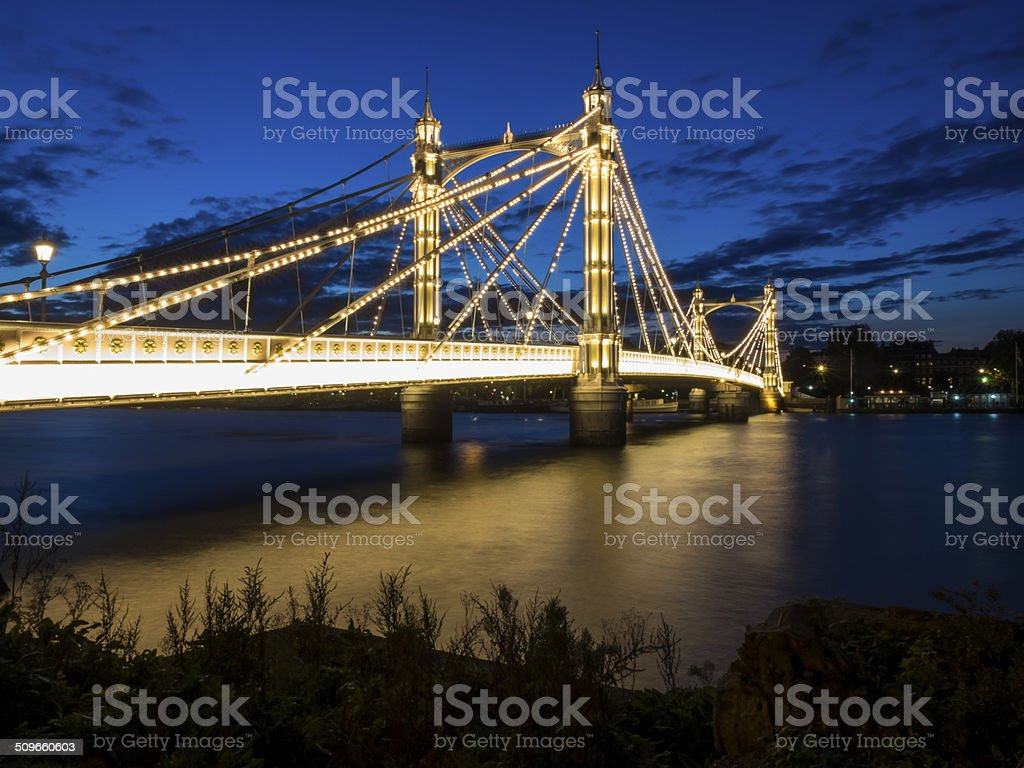Albert bridge at dusk, London stock photo
