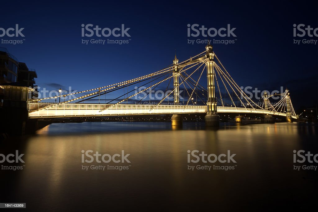Albert Bridge at Night - London stock photo