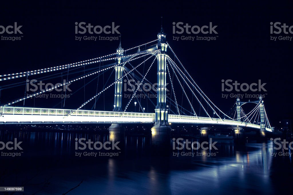Albert Bridge at Night stock photo