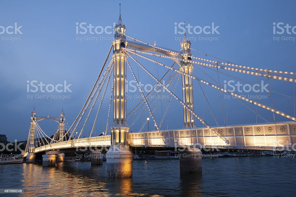Albert Bridge; Chelsea; London stock photo