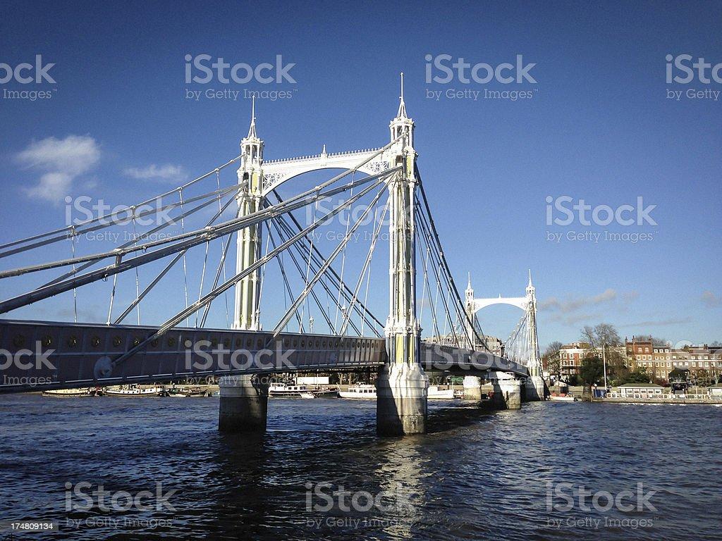 Albert Bridge from Battersea Park, London stock photo