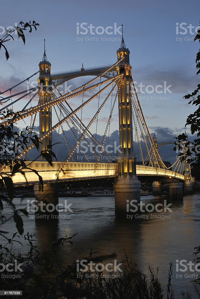 Albert Bridge in London stock photo