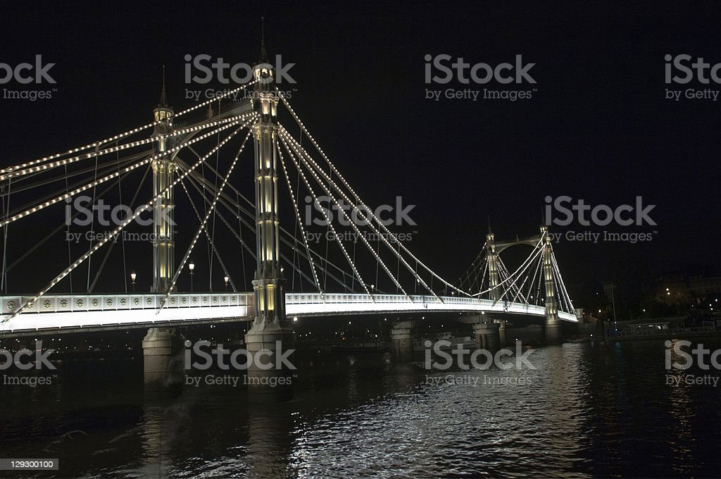 Albert Bridge lit up at night stock photo