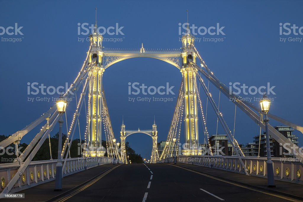 Albert Bridge, London, England at Dusk stock photo