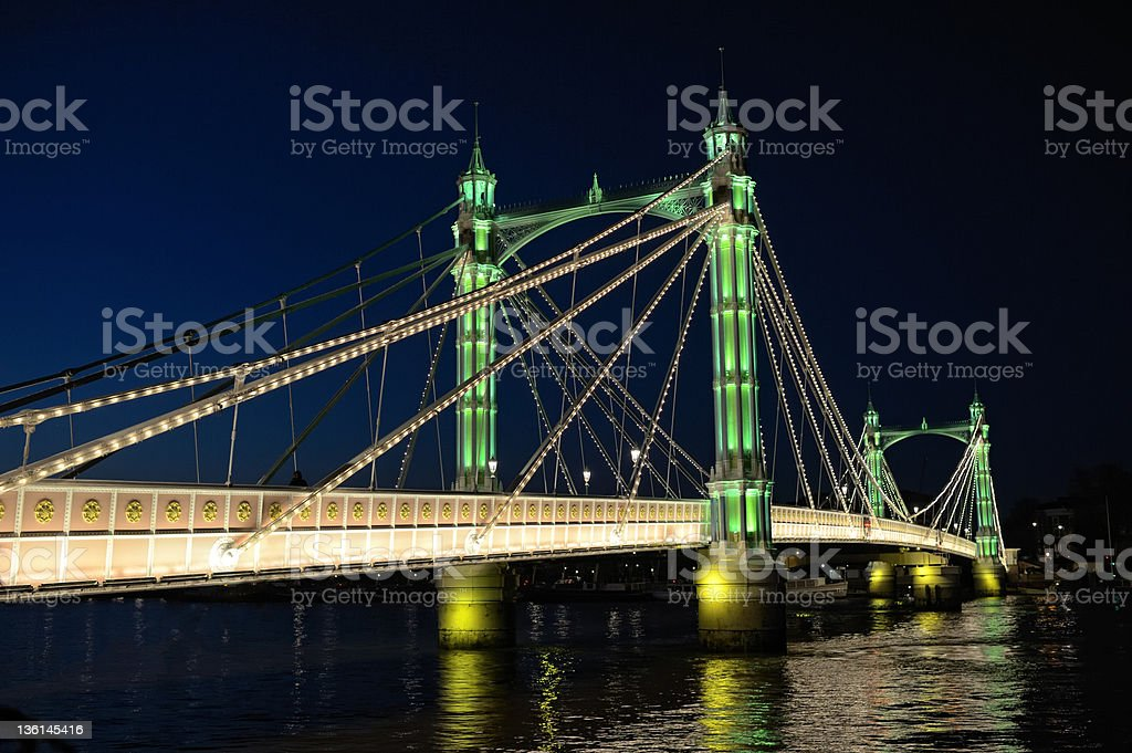Albert Bridge, River Thames, London, England, UK, illuminated at night stock photo