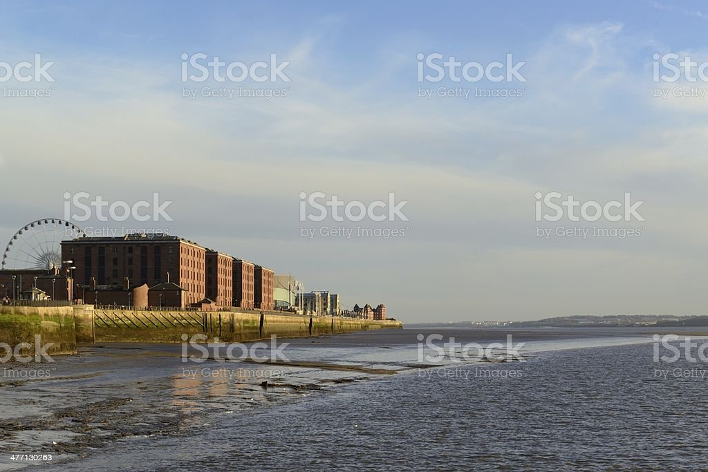 Albert Dock and the River Mersey royalty-free stock photo