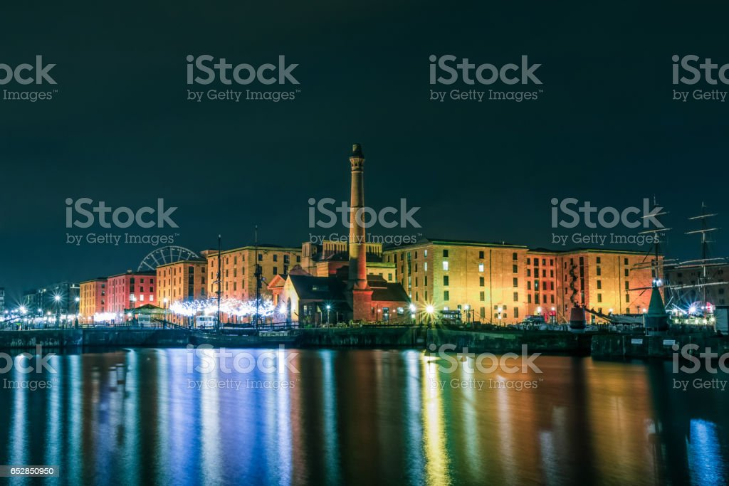 Albert Dock at night,United Kingdom, Liverpool, stock photo