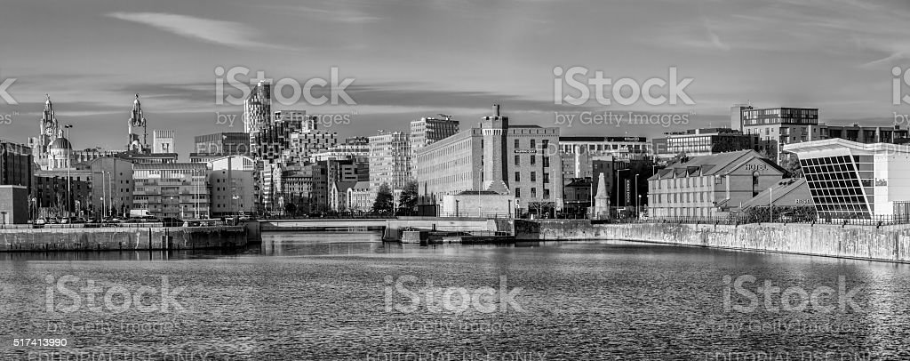 Albert Dock Panorama, Liverpool stock photo