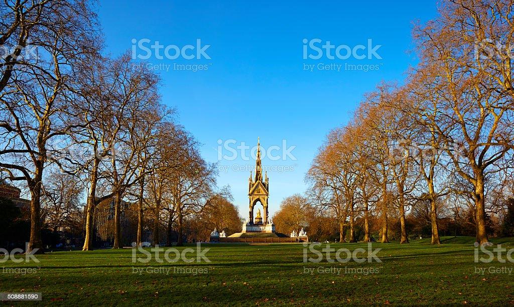 Albert Memorial And Kensington Gardens In Winter Sun stock photo