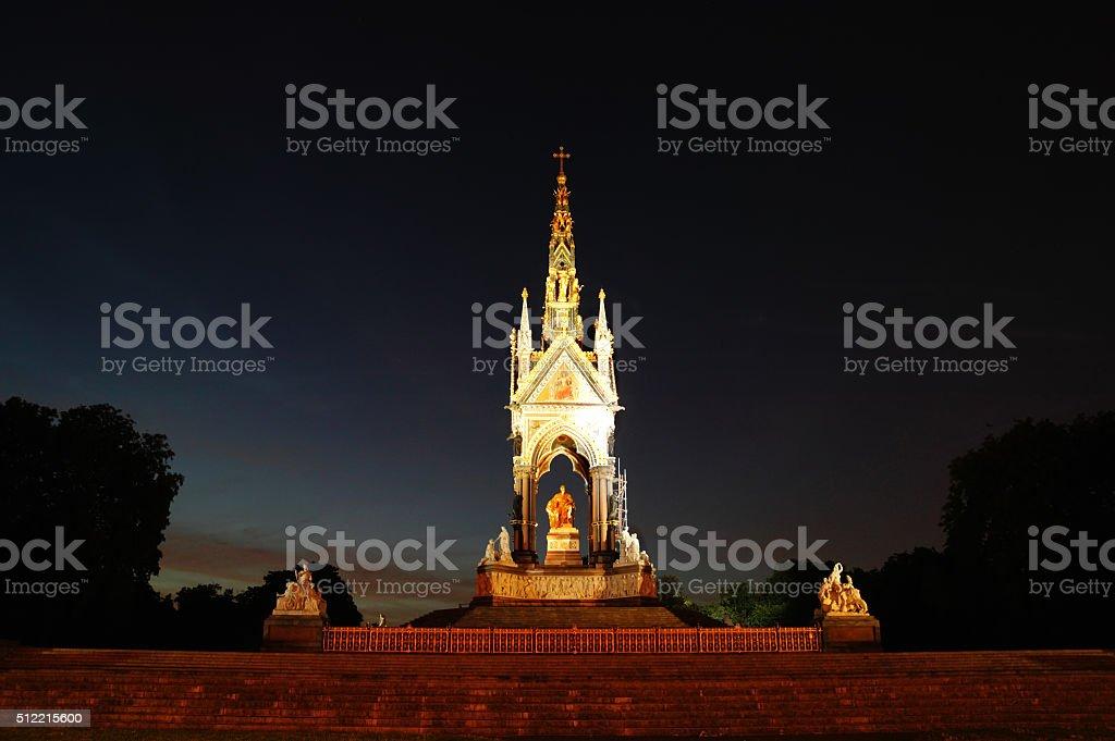 Albert Memorial at night stock photo