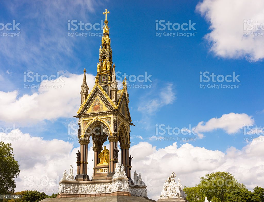 Albert Memorial in Kensington Gardens Park stock photo