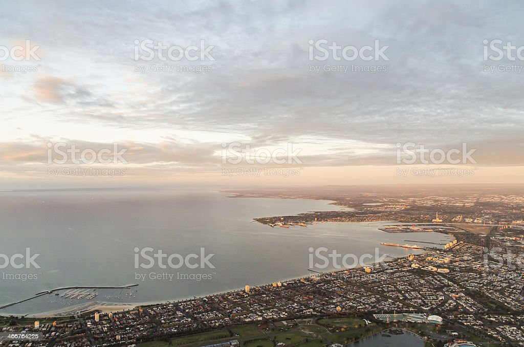 Albert Park and Port Melbourne - aerial view stock photo