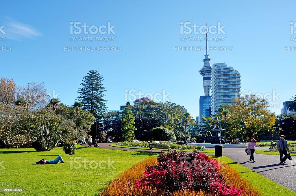 Albert park in Auckland New Zealand stock photo