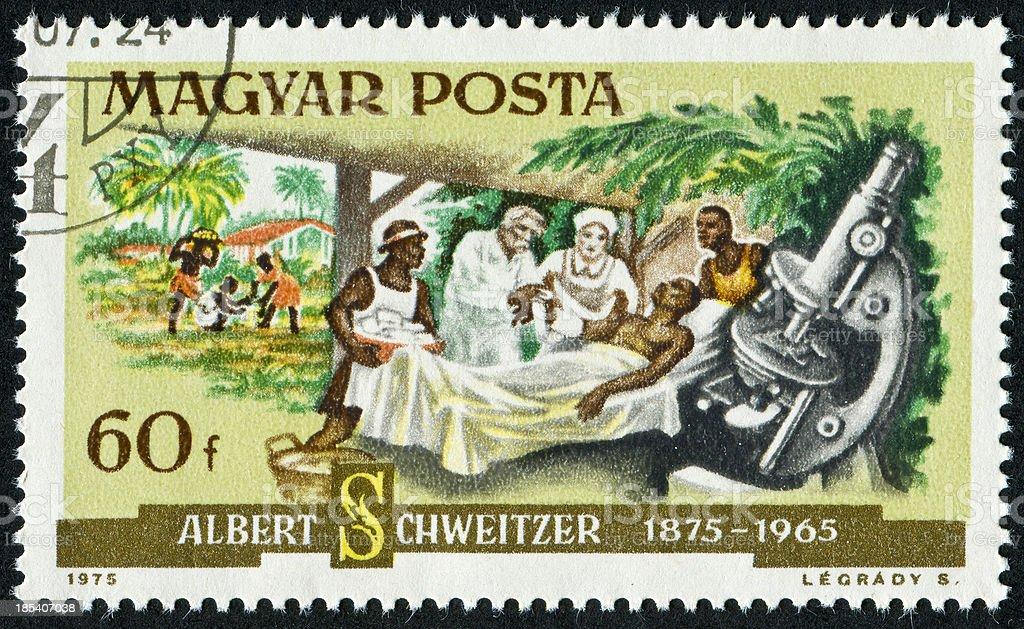 Albert Schweitzer Stamp stock photo