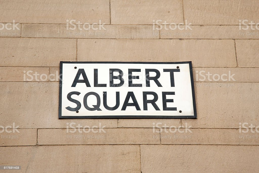 Albert Square Street Sign, Manchester stock photo