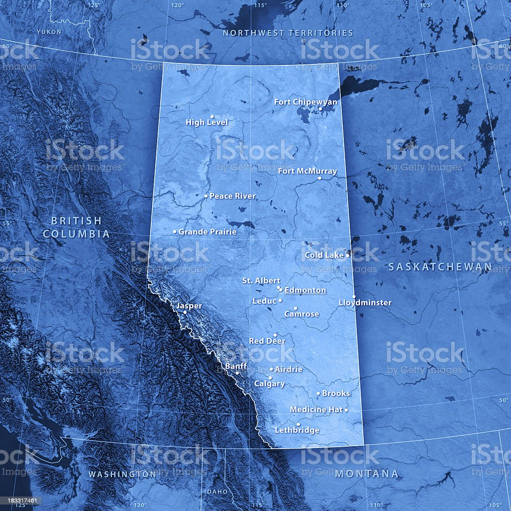 Alberta Cities Topographic Map stock photo