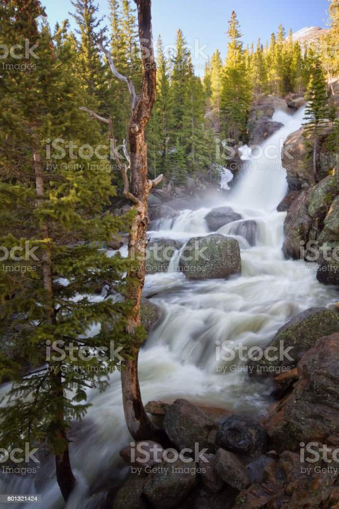 Alberta Falls flows in Rocky Mountain National Park stock photo