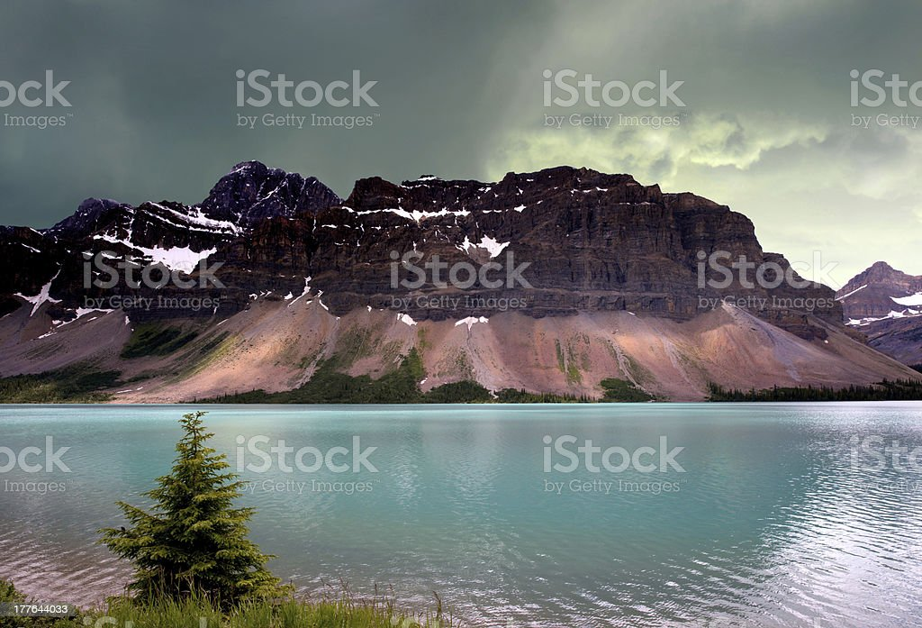 Alberta glacier lake in the Rocky Mountains stock photo