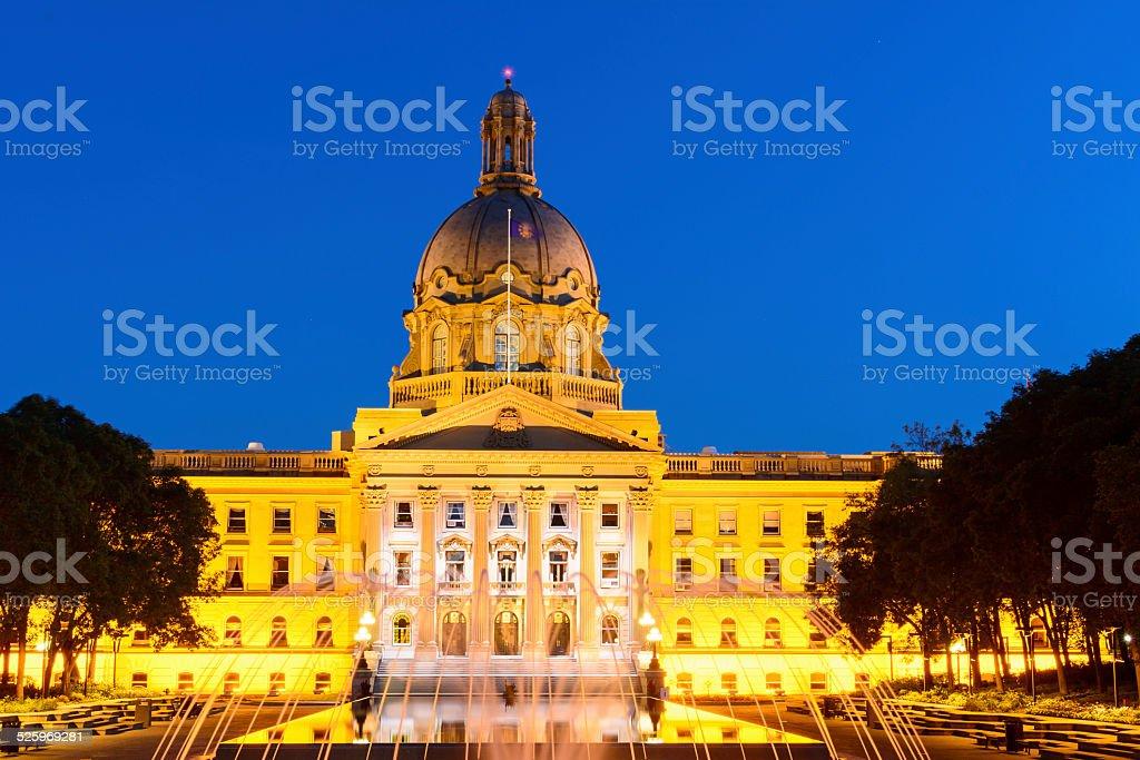 Alberta Legislature Building at night stock photo