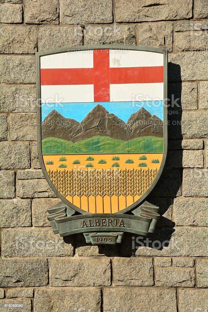 Alberta provincial coat of arms. stock photo