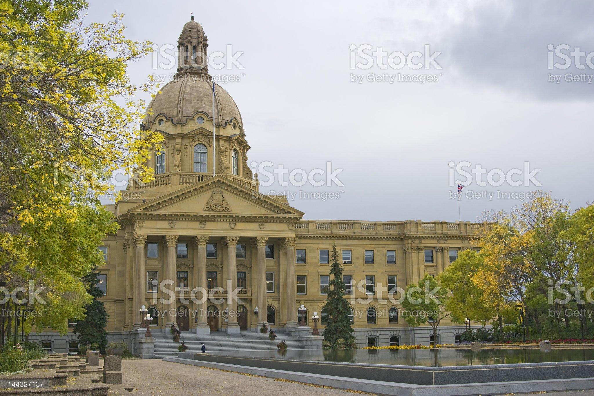 Alberta Provincial Legislature Building in fall royalty-free stock photo