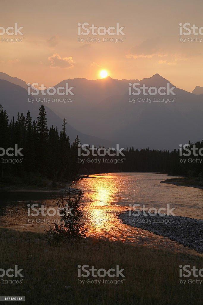 Alberta Rockies and Bow River royalty-free stock photo