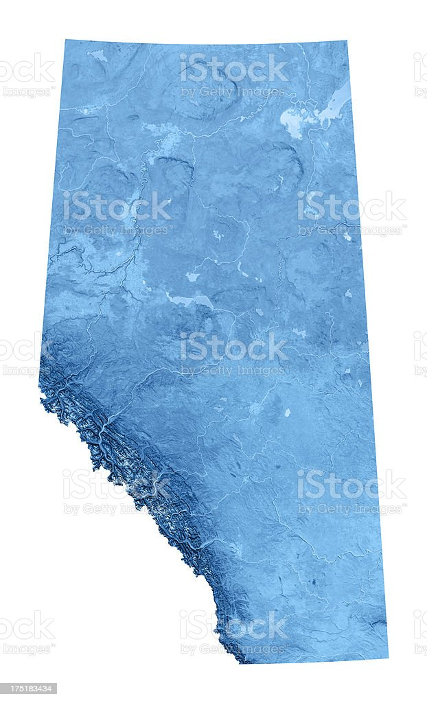 Alberta Topographic Map Isolated stock photo