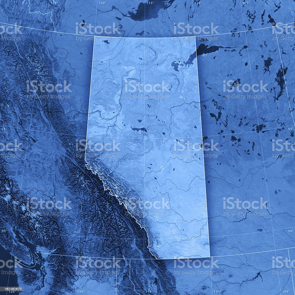 Alberta Topographic Map stock photo