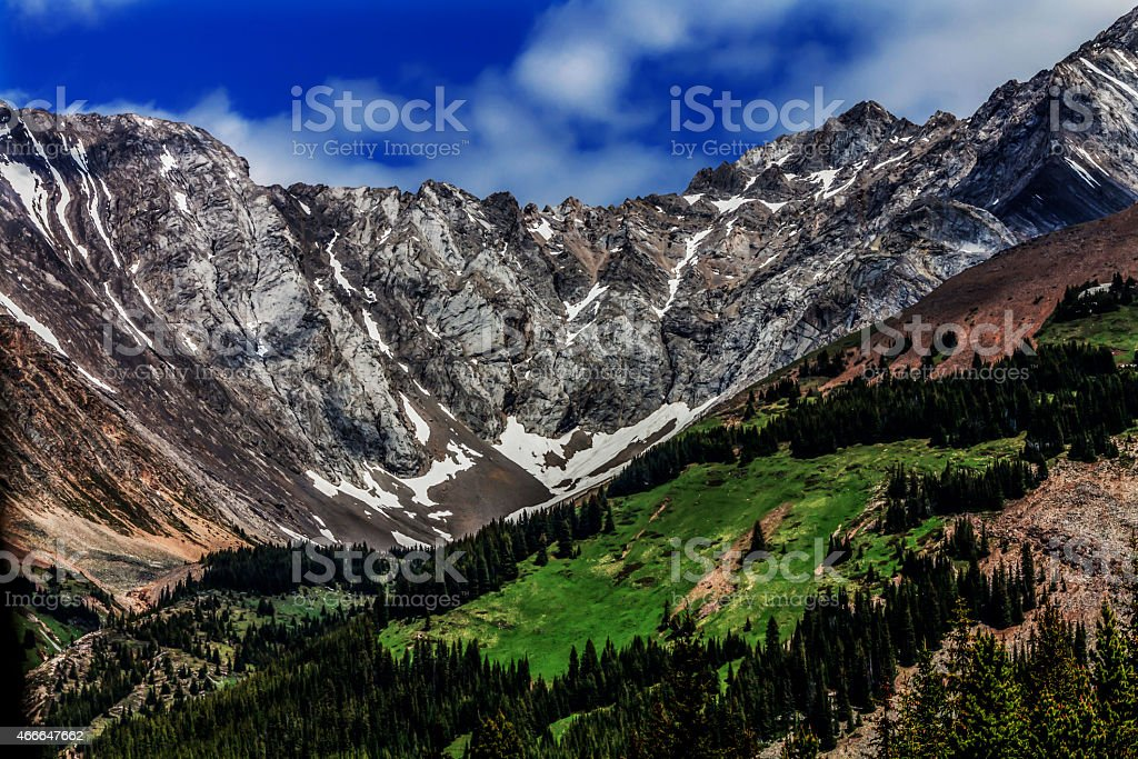 Alberta's Lower Kananaskis lake national park mountain valley. stock photo