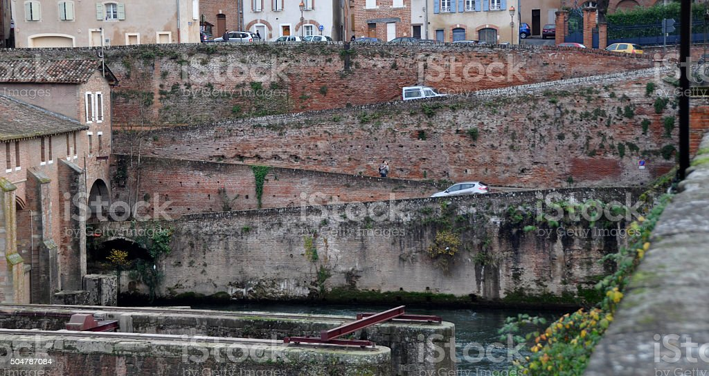 Albi, France, midi-Pyrenees area.  A city street with switchbacks stock photo