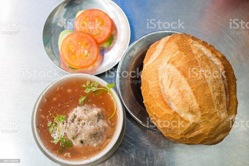 Albondigas Soup eat with bread and tomato stock photo