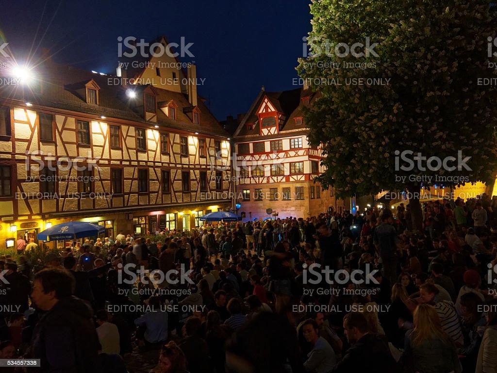 Albrecht Durer House - Nuremberg at night scenery stock photo