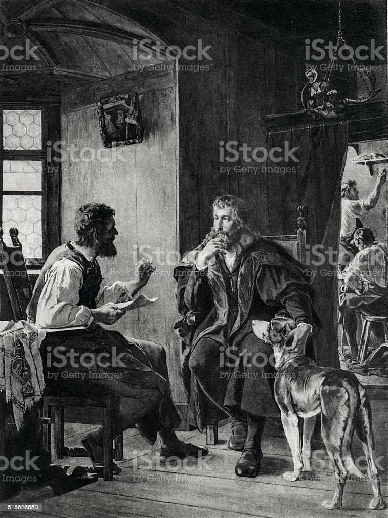 Albrecht Durer Visiting Hans Sachs stock photo