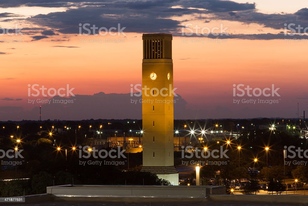 Albritton Bell Tower in Twilight stock photo