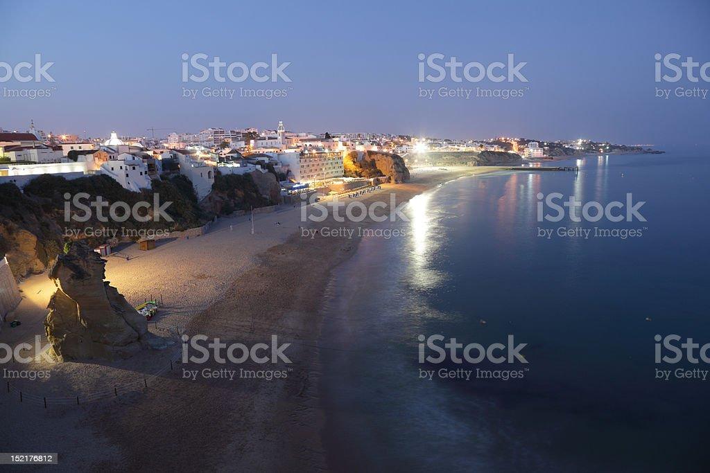 Albufeira beach at dusk, Portugal stock photo