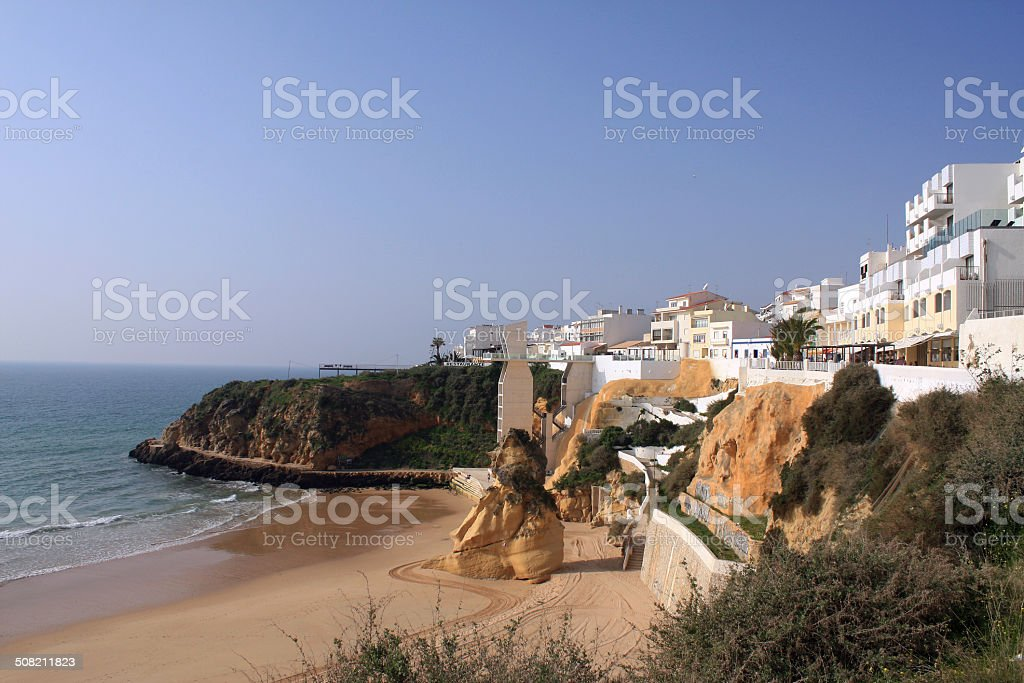 Albufeira Beach in Portugal stock photo