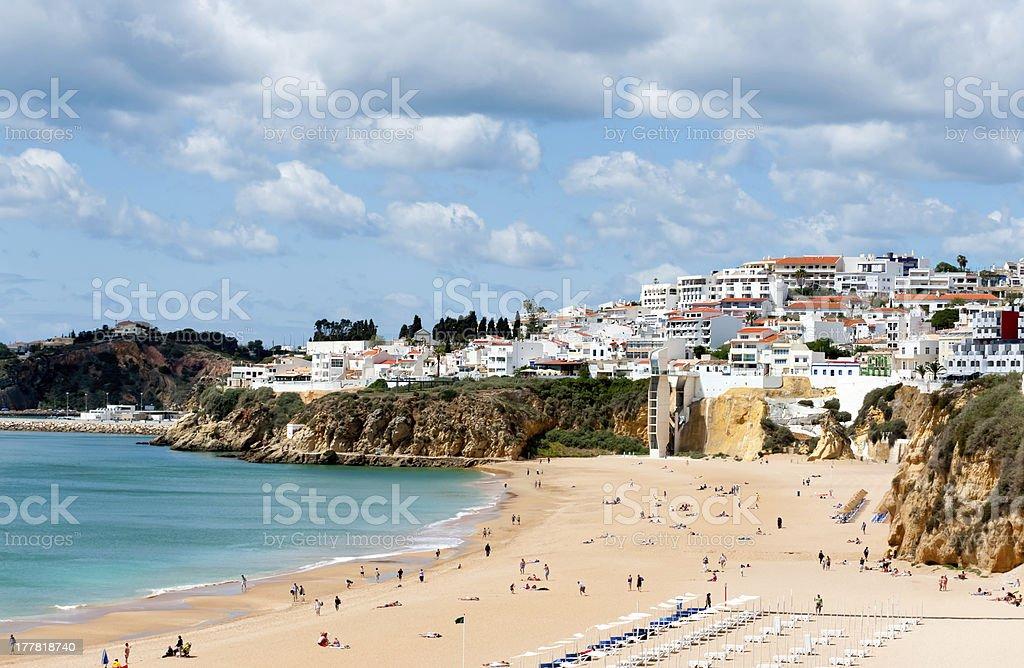 Albufeira beach in Western Portugal stock photo