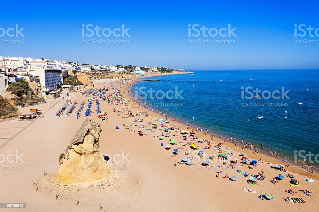 Albufeira city beach stock photo