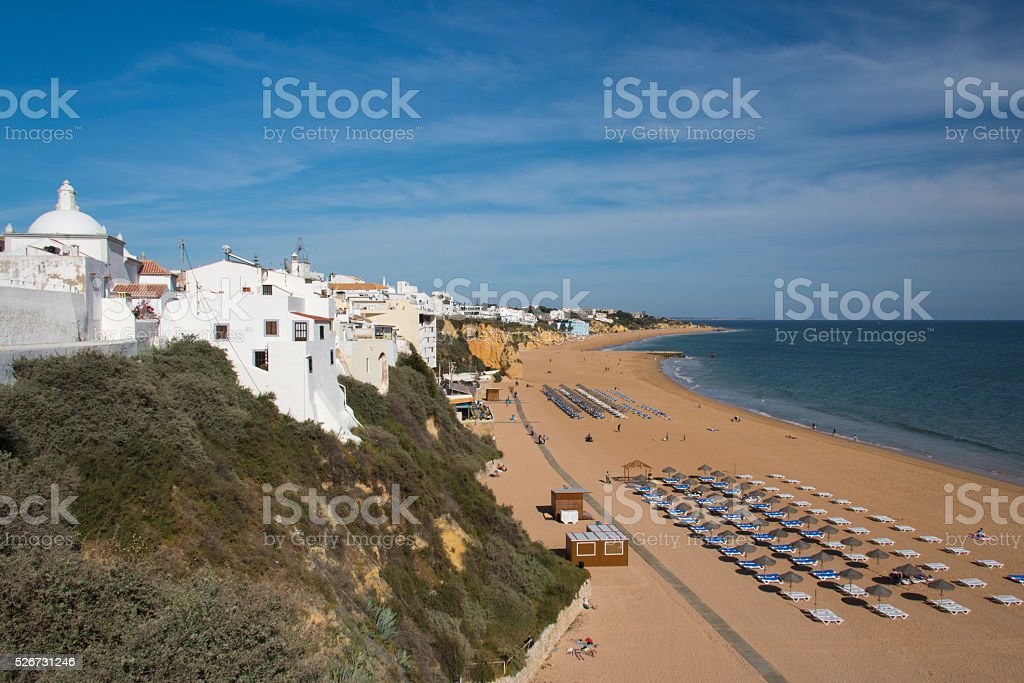 Albufeira town and beach stock photo