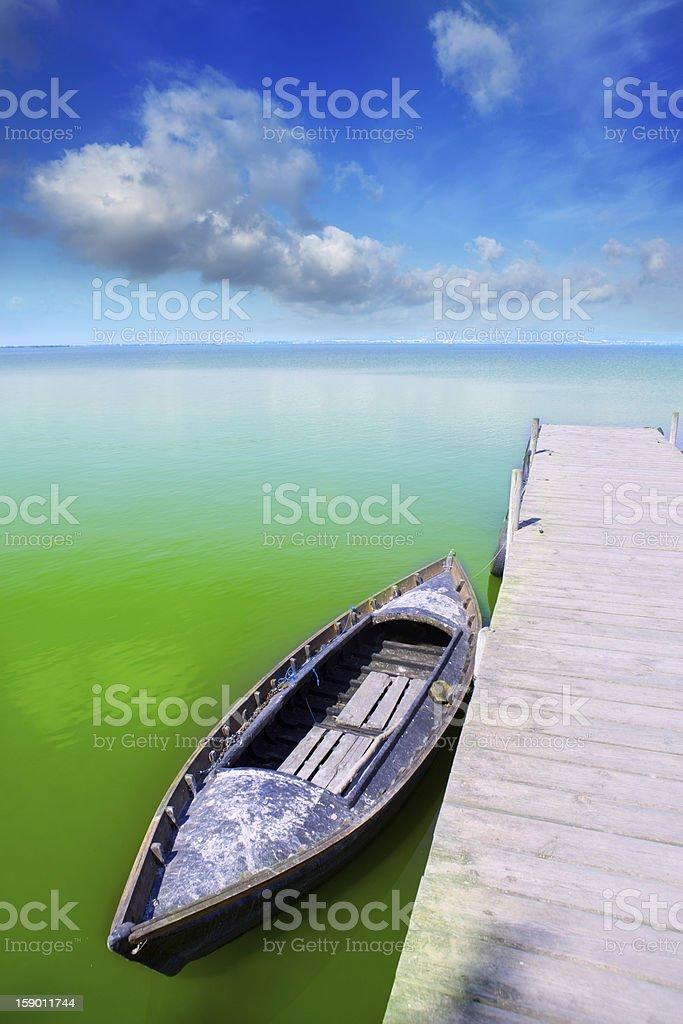 Albufera lake in Valencia El Saler under blue sky stock photo