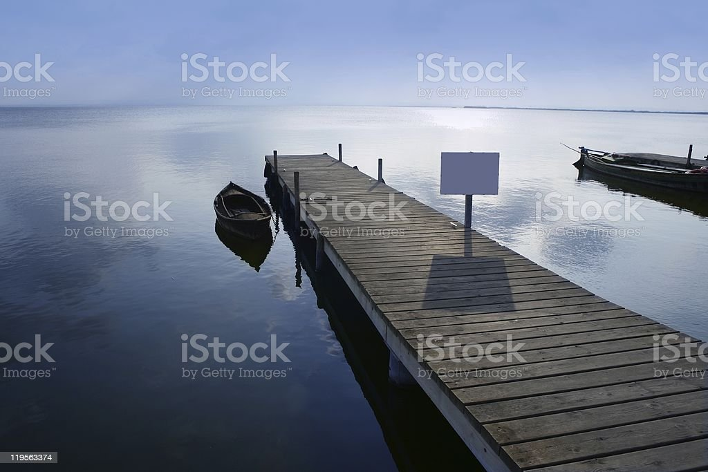 Albufera lake wetlands pier in Valencia Spain royalty-free stock photo