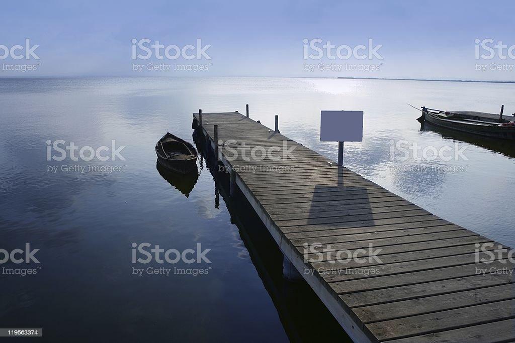 Albufera lake wetlands pier in Valencia Spain stock photo